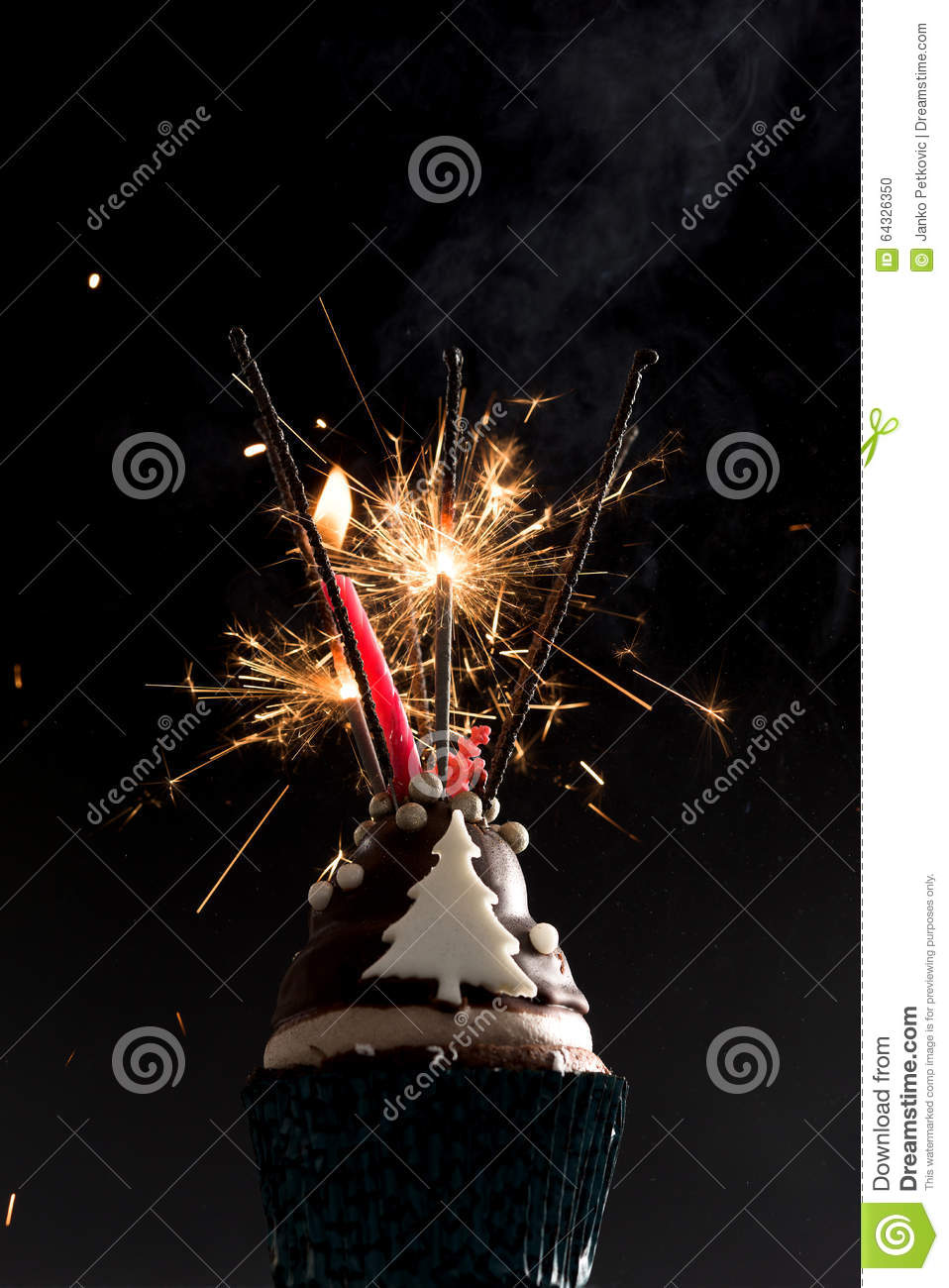 Fine Cup Cake With Firework And Birthday Candles Stock Photo Image Of Funny Birthday Cards Online Bapapcheapnameinfo