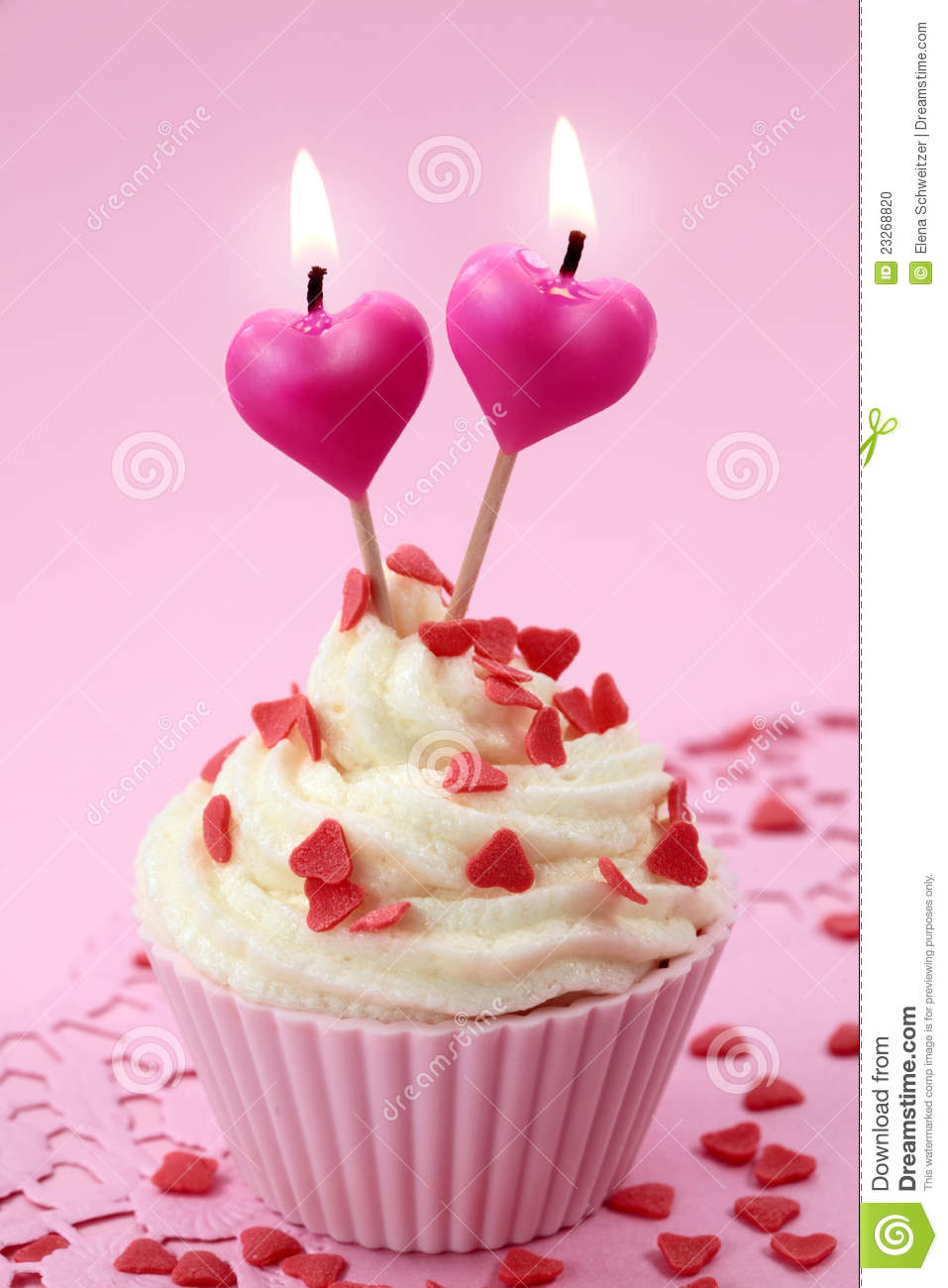 cup cake with heart candles stock photo image 23268820. Black Bedroom Furniture Sets. Home Design Ideas