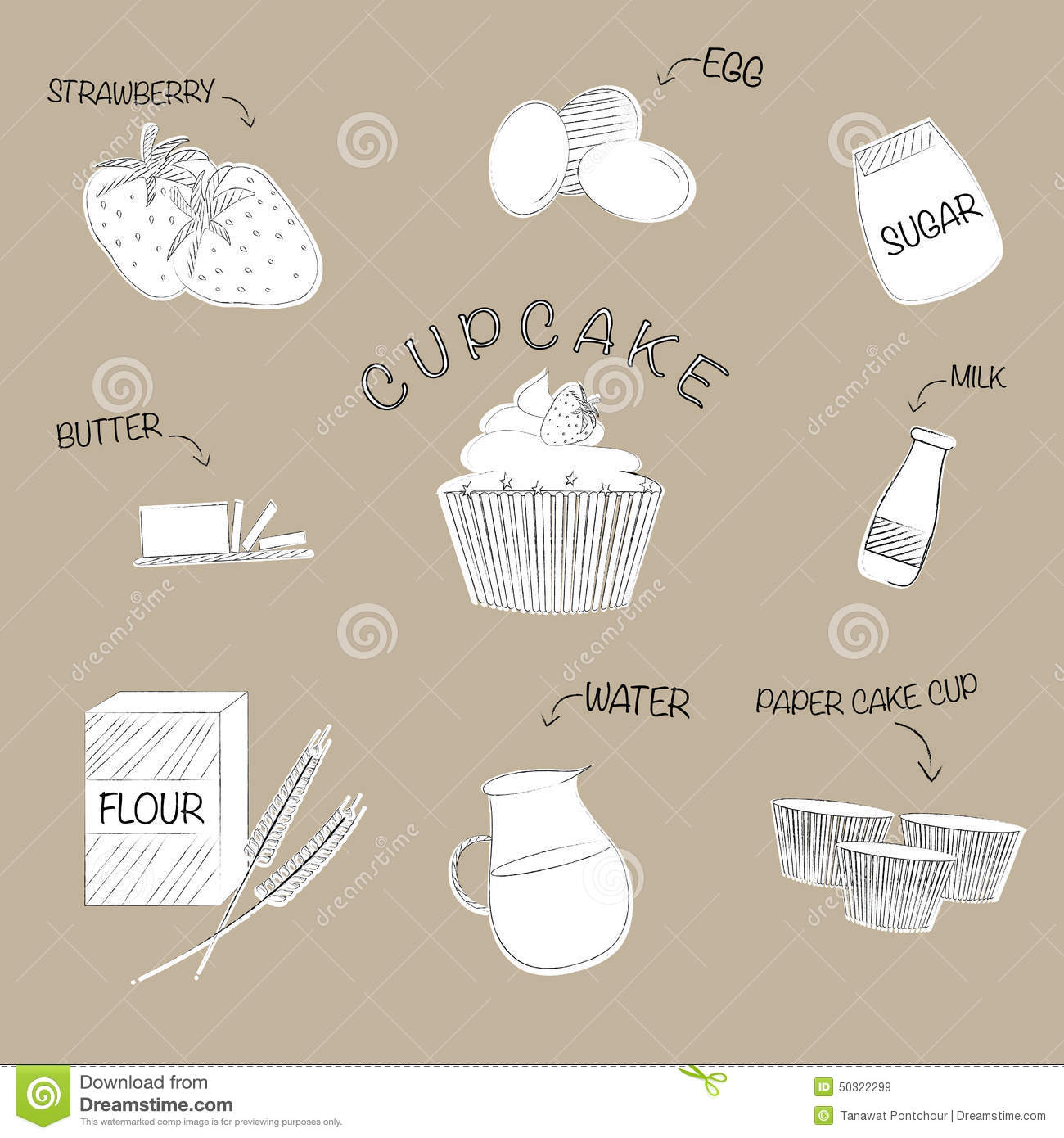 Cup Cake Recipe Stock Illustration Image Of Kitchen