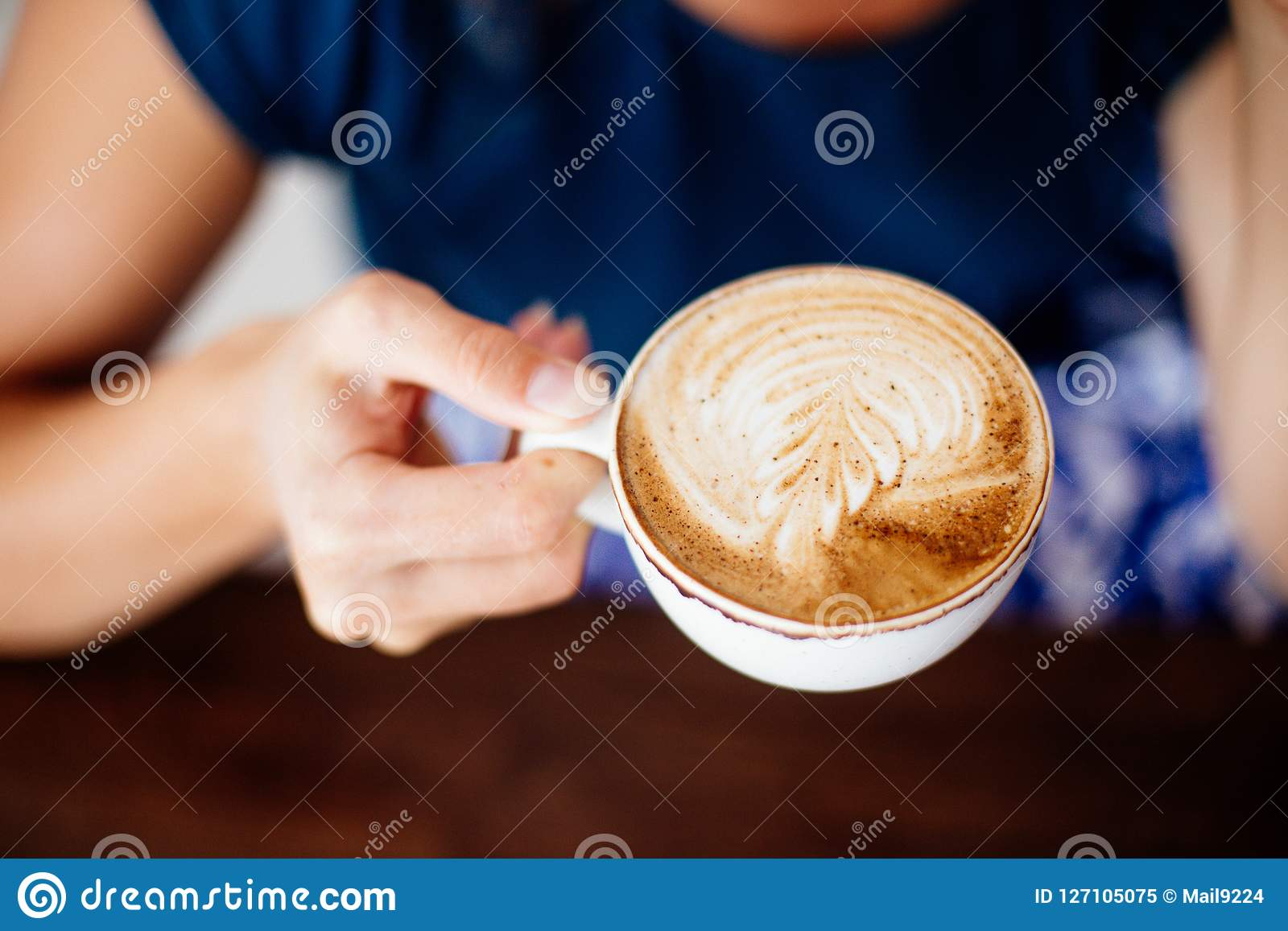 Cup Of Cappuccino In Hands. Stock Image - Image of hand ...