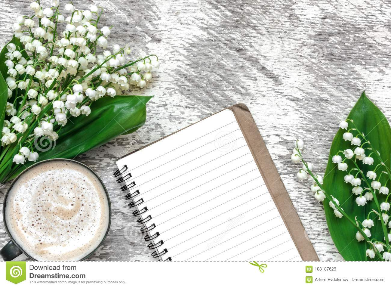 Cup Of Cappuccino With Spring Lily Of The Valley Flowers And Lined