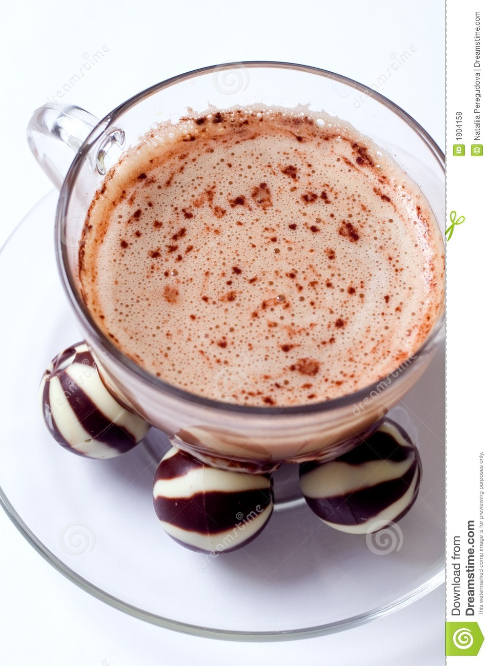 Cup of cappucino and chocolate candies