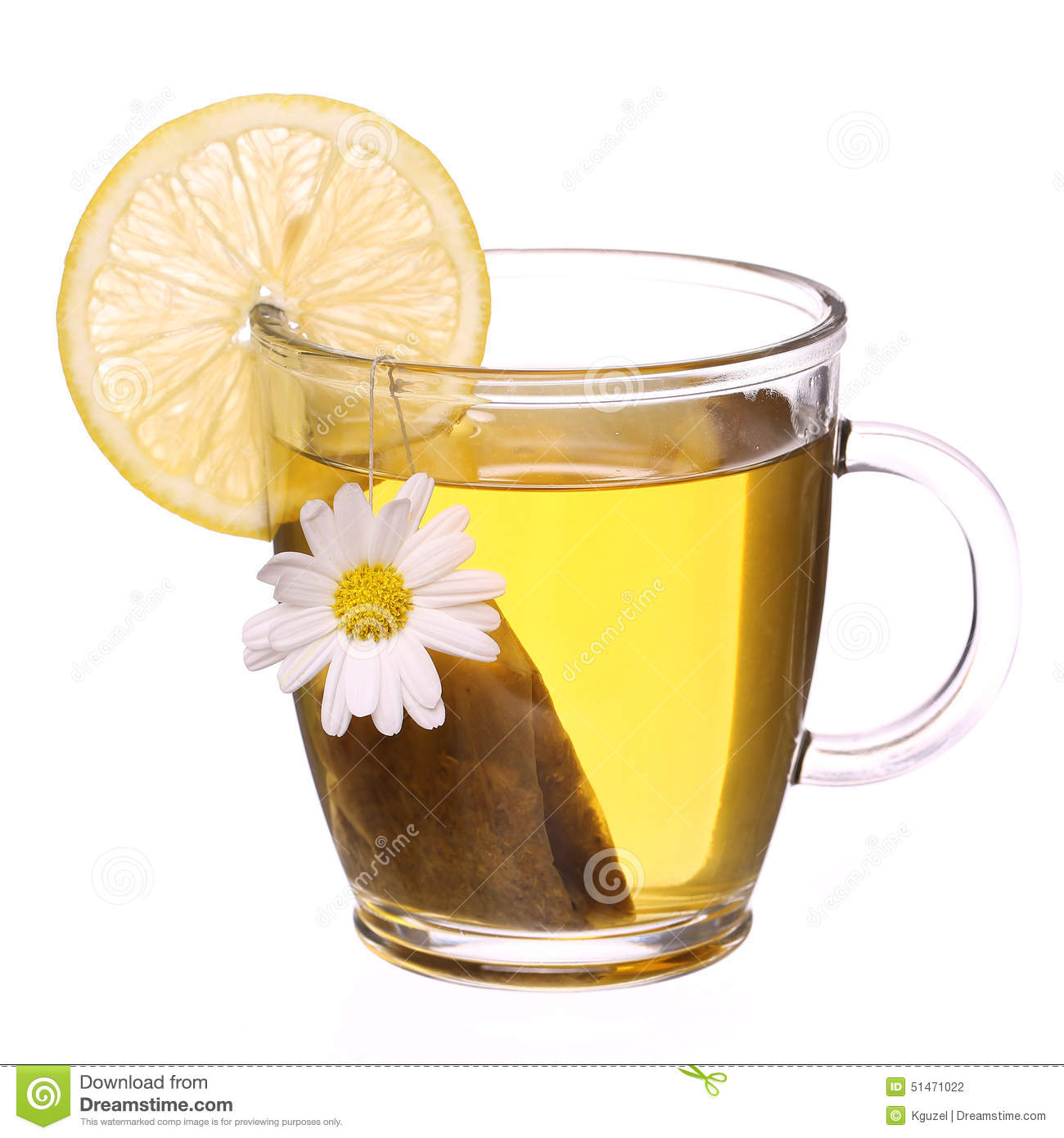Cup Of Chamomile Tea With Chamomile Flower Tea Bag And Lemon Stock