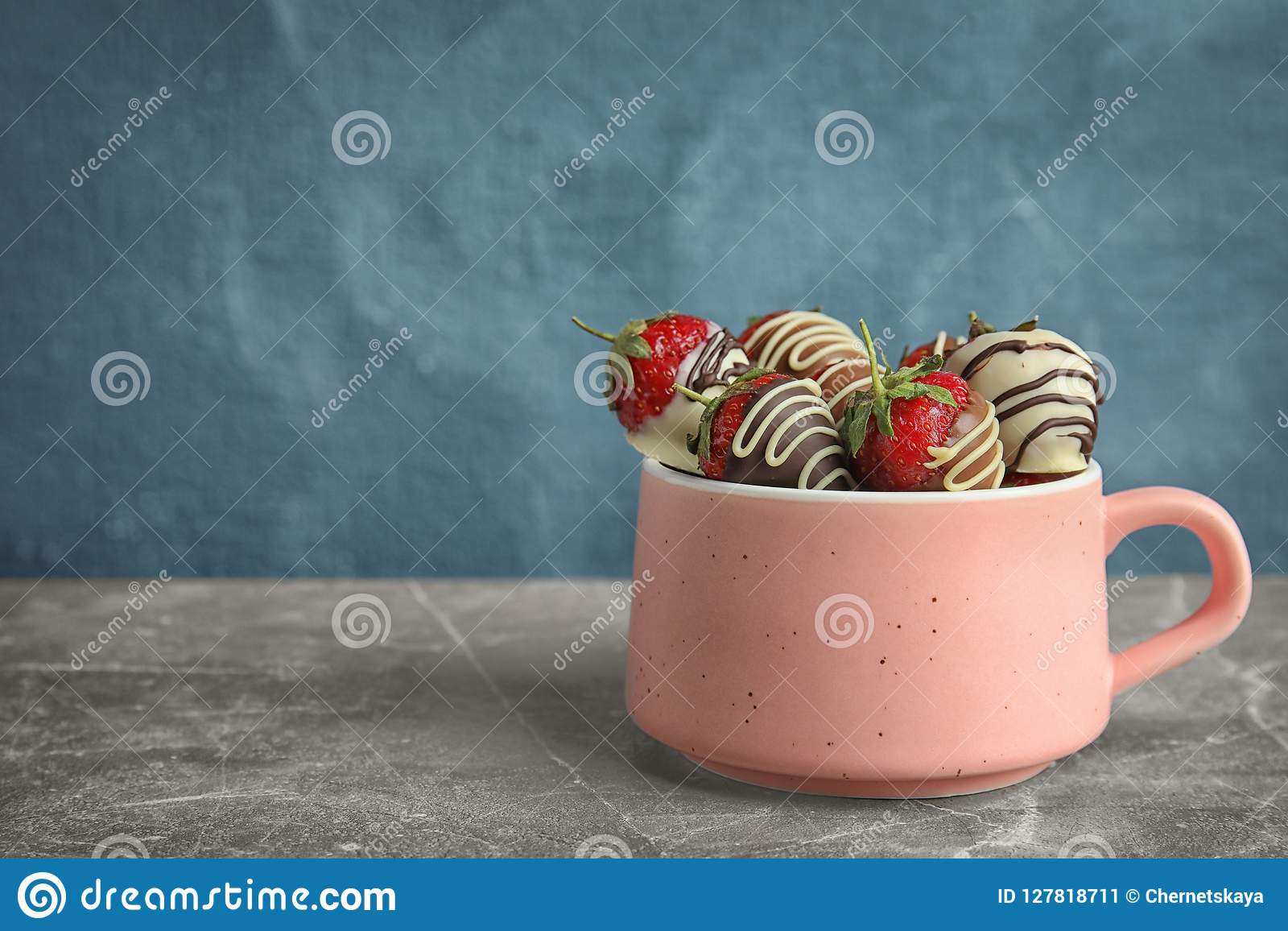 Cup with chocolate covered strawberries