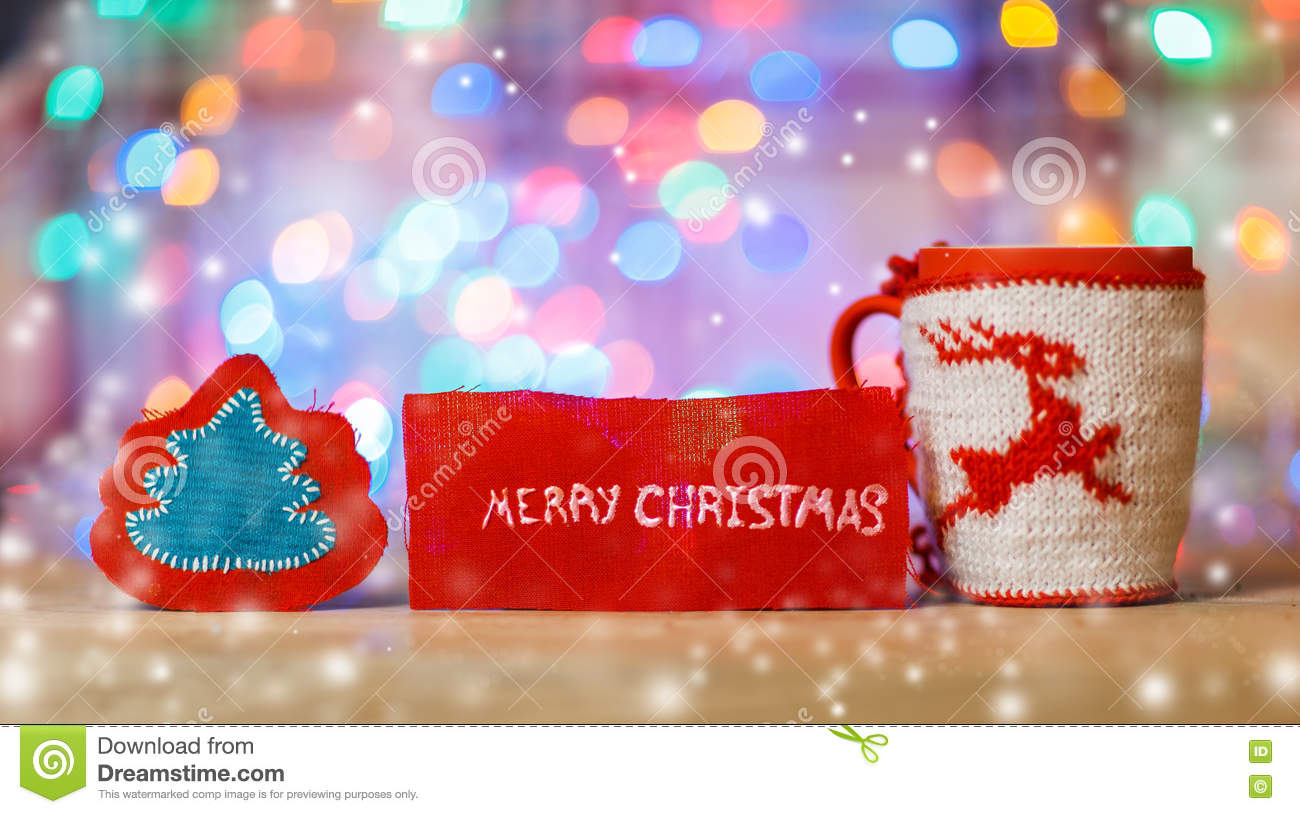 cup with christmas ornament and the words stock image image of