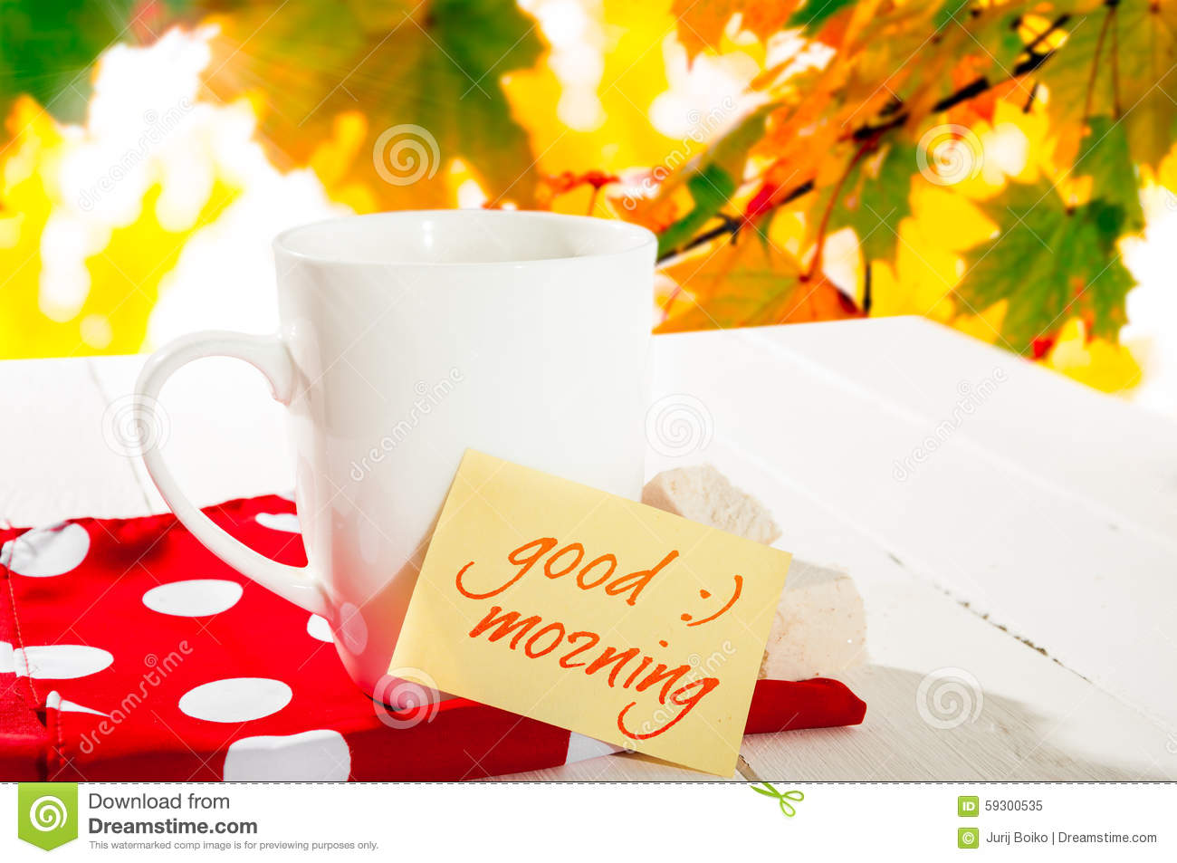 cup coffee and autumn forest note with text good morning maple leaf vector graphic maple leaf vector png