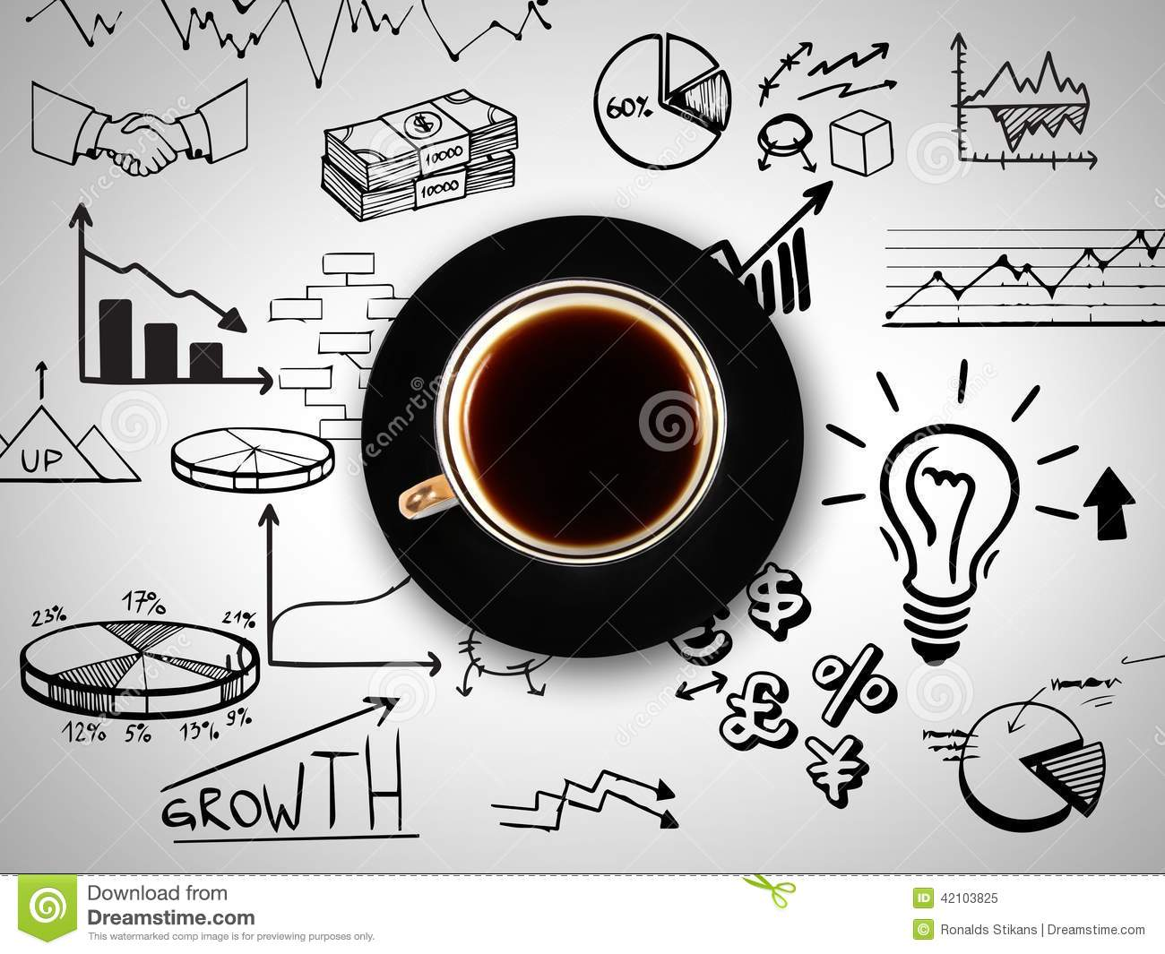 Cup of coffee on background of business strategy stock for Coffee business