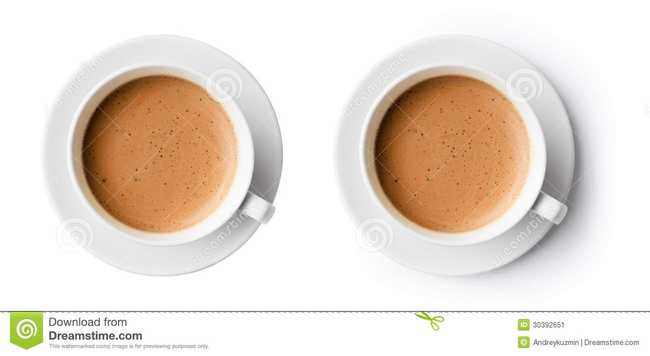 Cup Of Coffee With Beautiful Foam Top View Stock Image