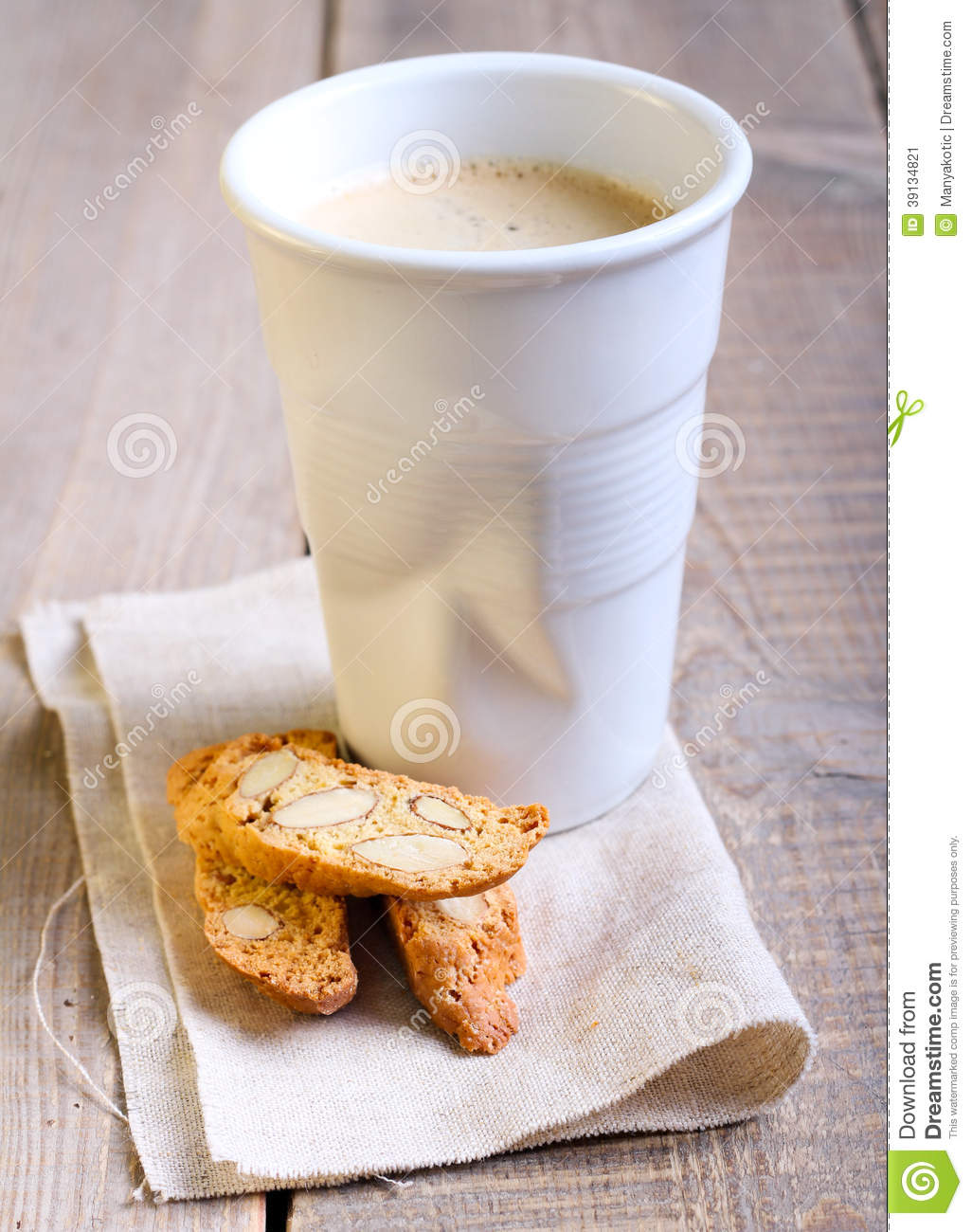 Cup Of Coffee And Biscuits Stock Photo - Image: 39134821