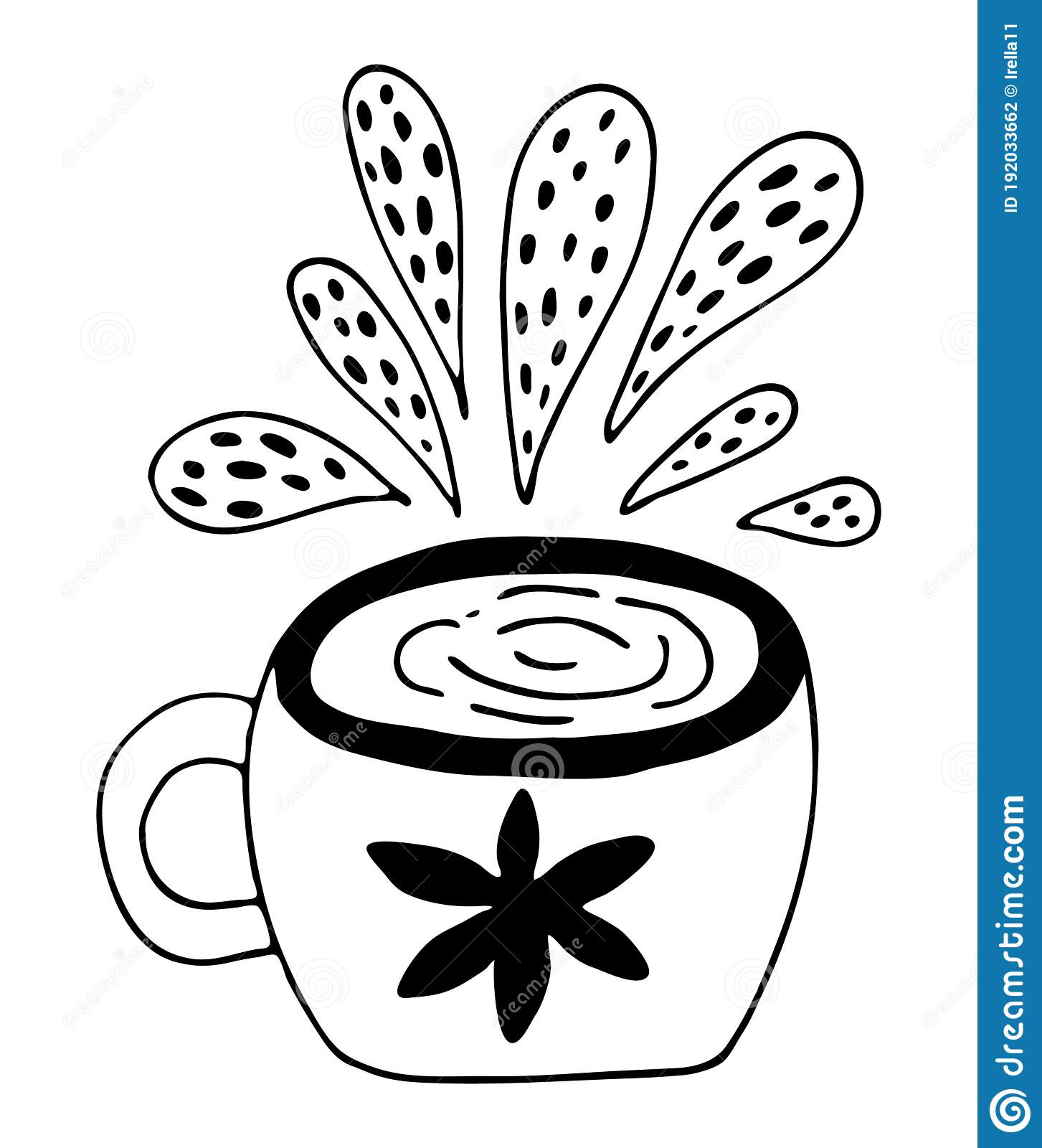 Cup Of Coffee Black Outline Vector Illustration Cute Mug With Flower Doodle Sketch For Coffee Day Cards Beverage Design And Stock Illustration Illustration Of International Menu 192033662