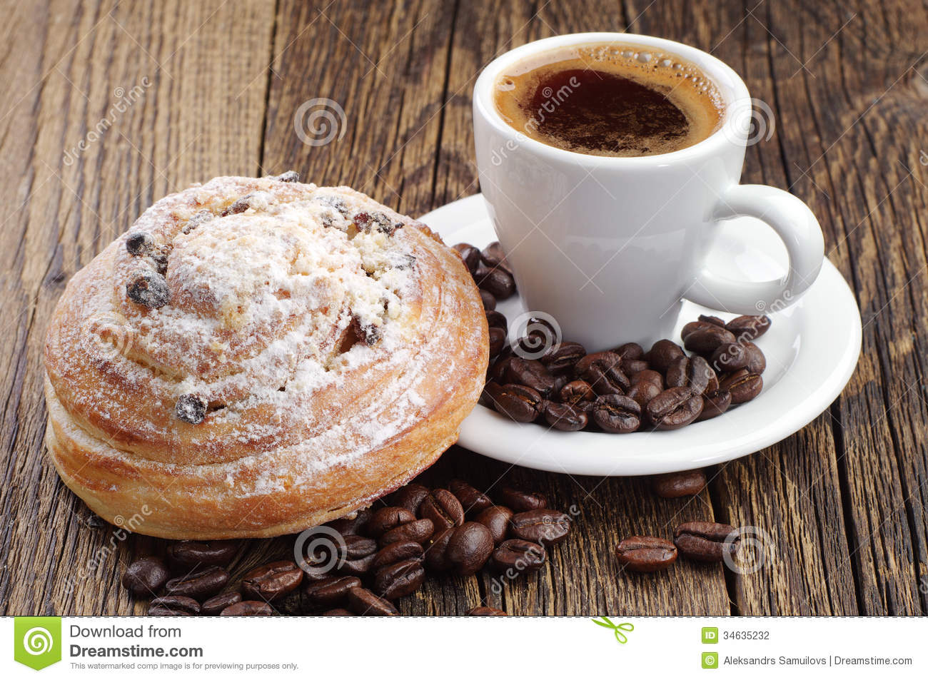 Cup Of Coffee And Bun Stock Photography - Image: 34635232