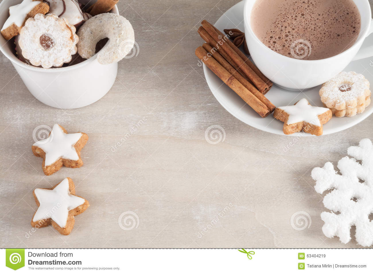 Download Cup of coffee with cakes stock image. Image of december - 63404219