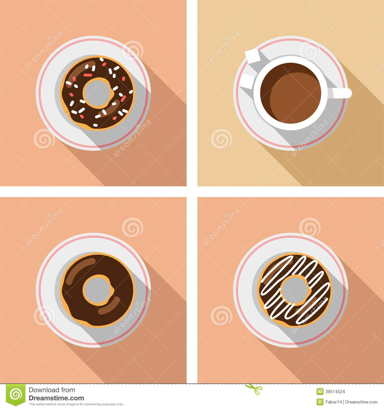 Cup of coffee with cakes - vector graphics