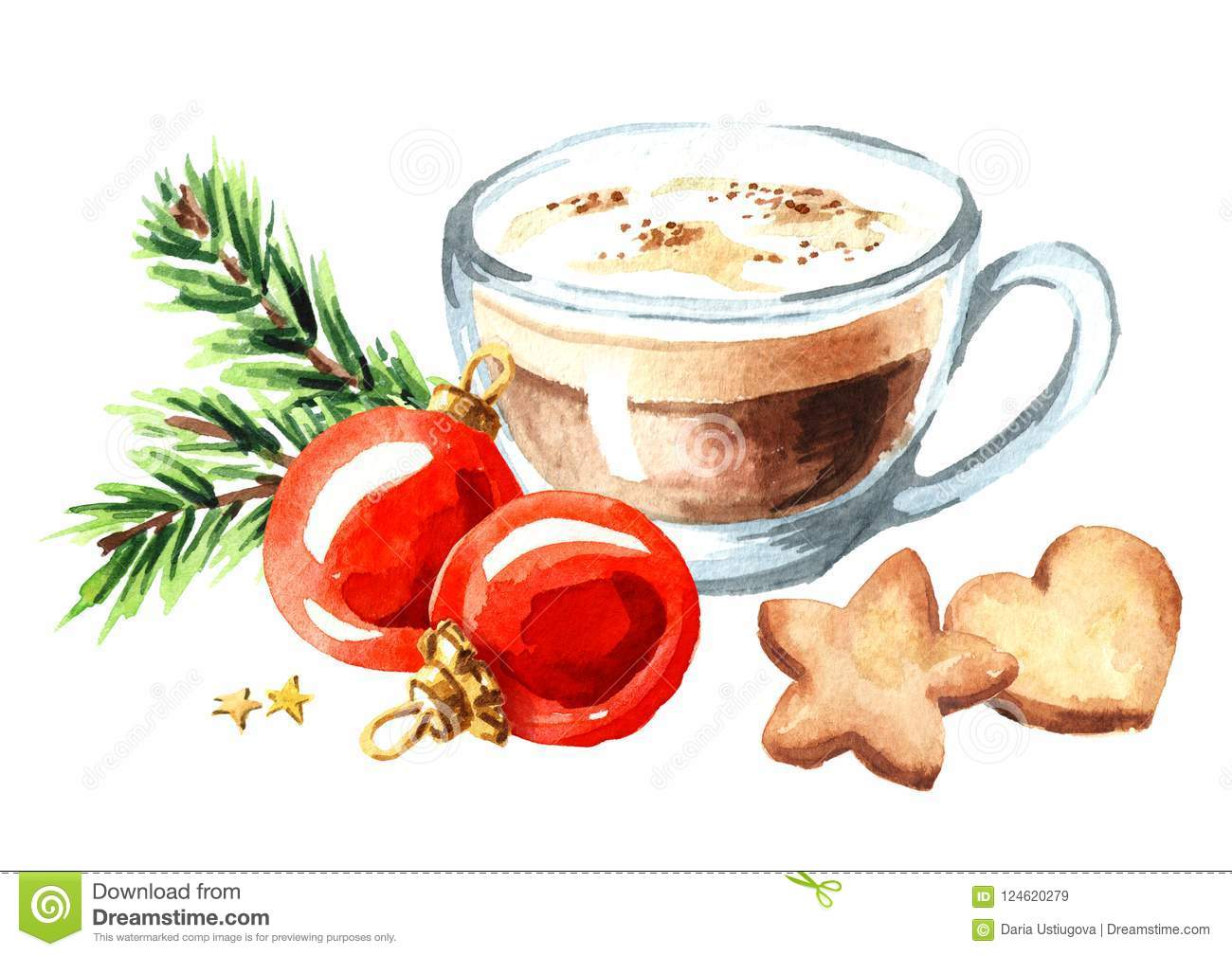 Cup of coffee cappuccino with Christmas cookies and red balls with green fir branch. Watercolor hand drawn illustration isolated o