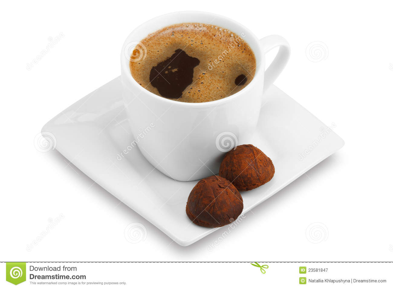 Cup Of Coffee And Chocolate Candy Royalty Free Stock