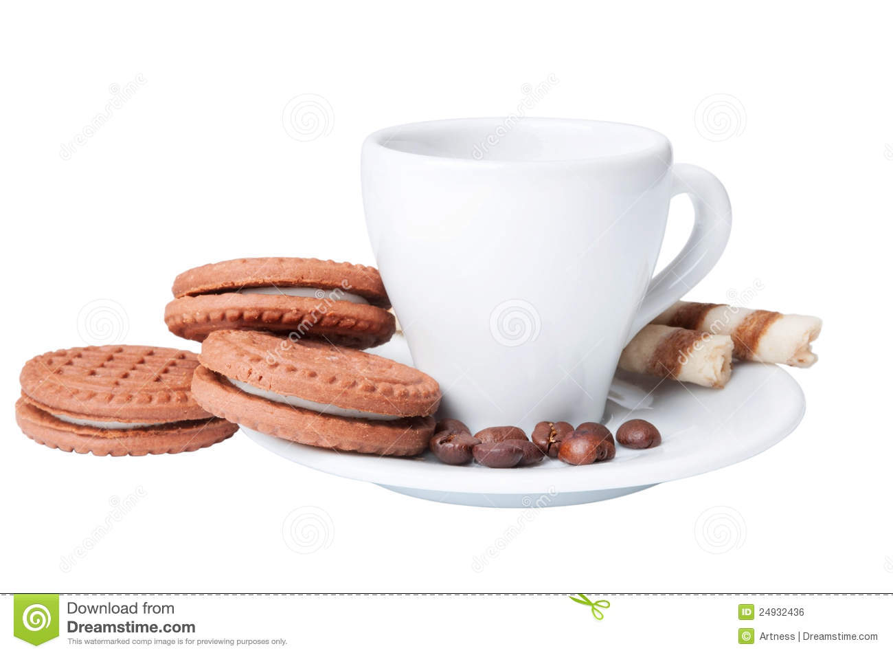 Cup Of Coffee And Chocolate Cookies Royalty Free Stock ...