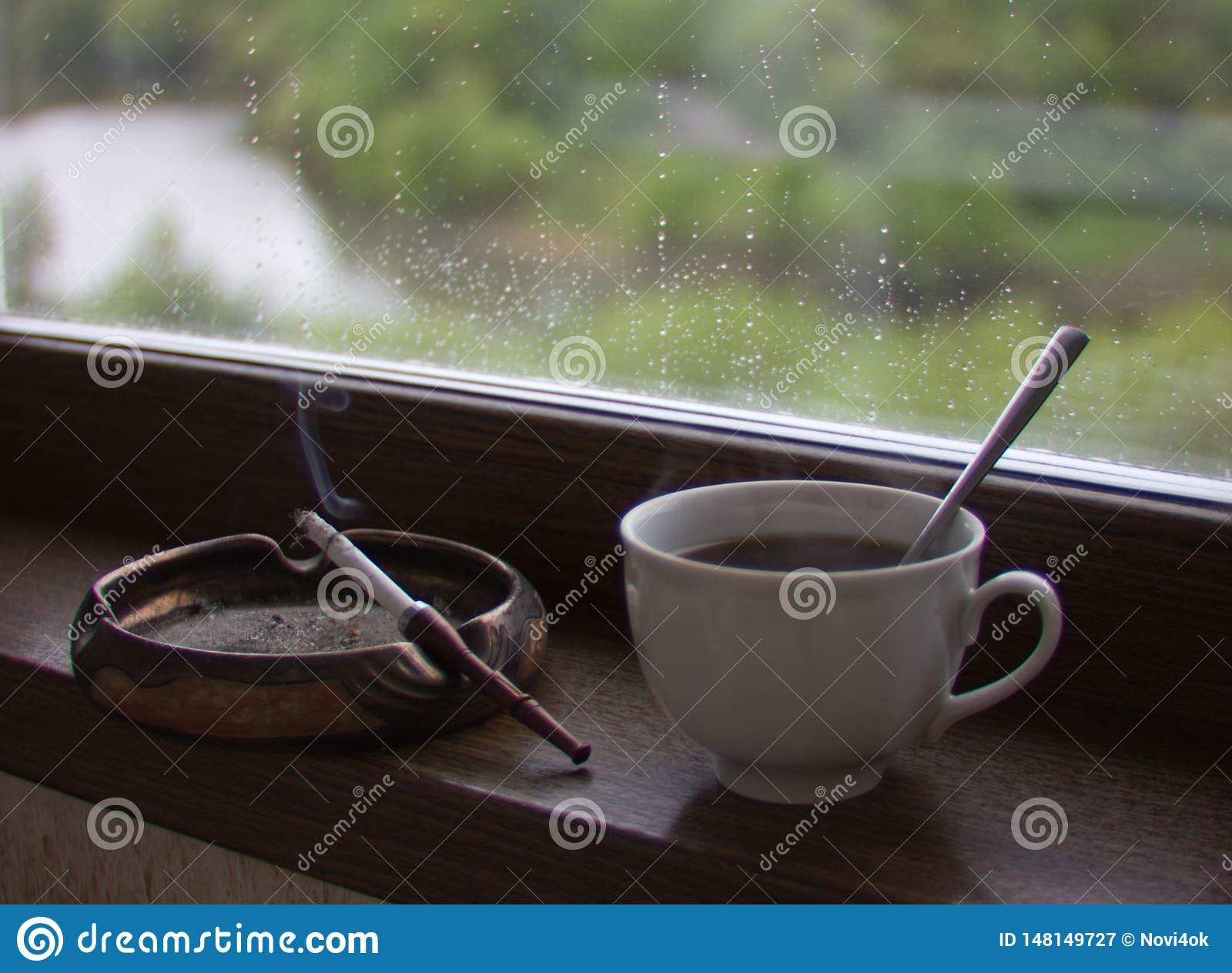 Cup of coffee and cigarette Smoking