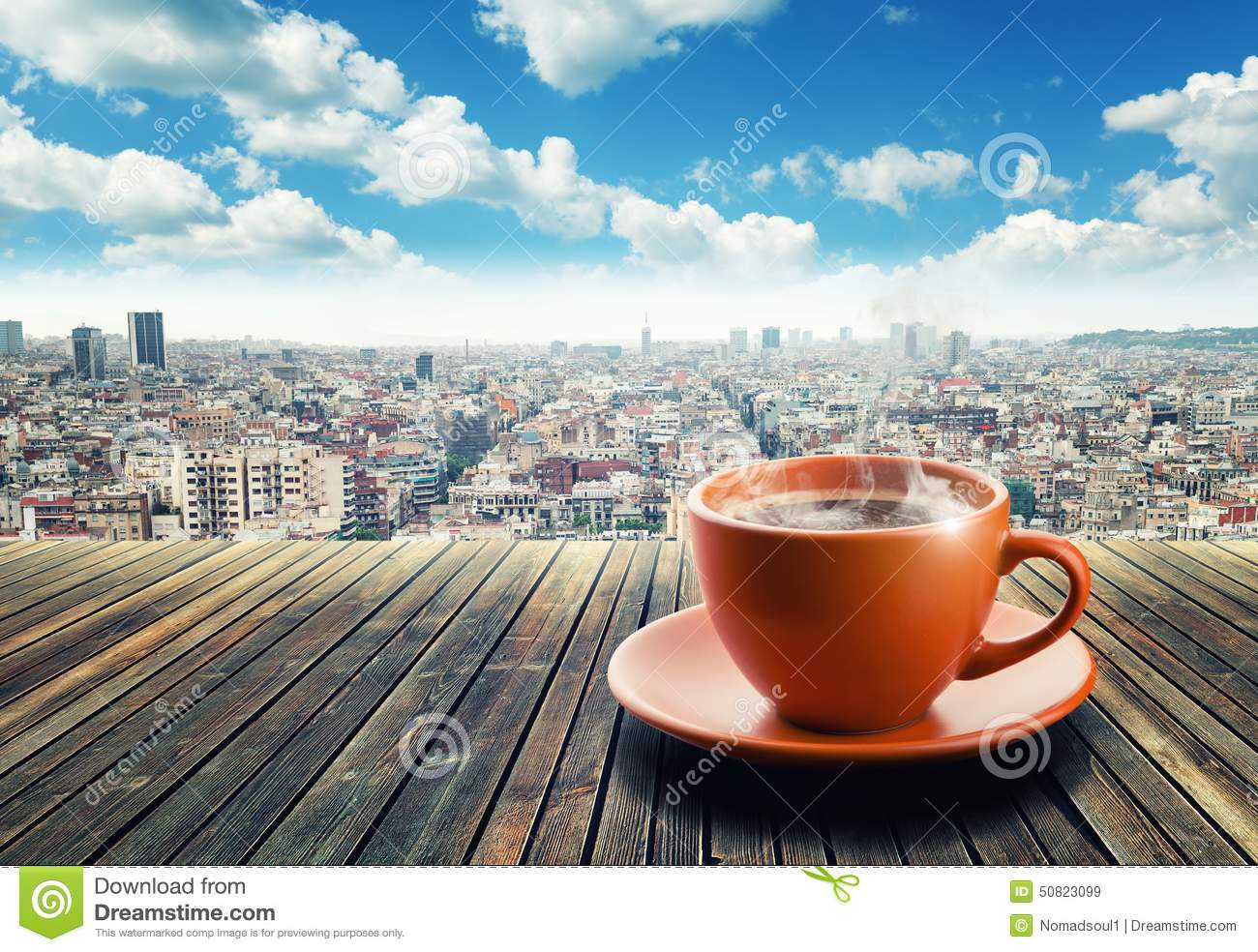 Cup Of Coffee On City Background Stock Photo - Image: 50823099