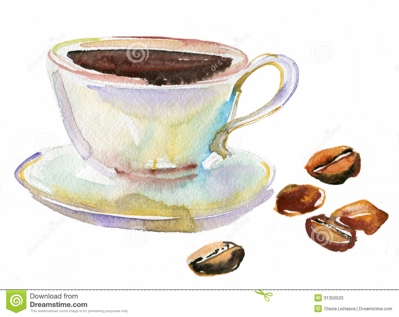 Cup of coffee and coffee beans watercolor stock for Coffee watercolor