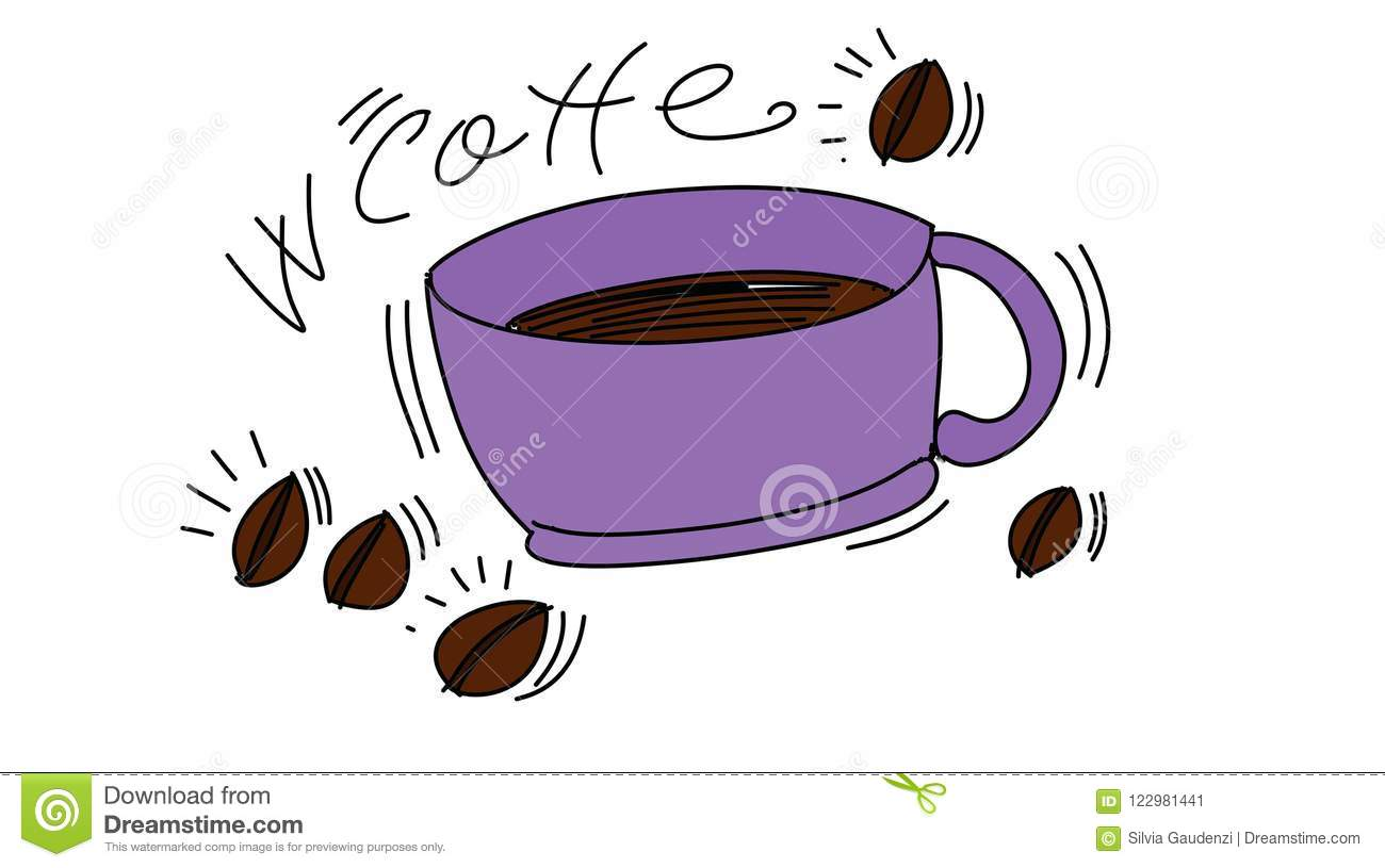 in a cup of coffee colorful drawings in pop art style stock