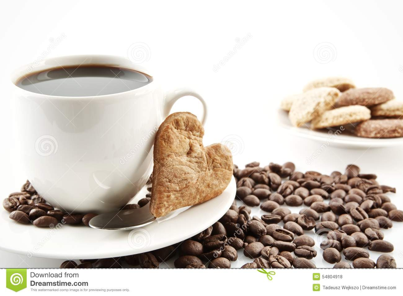 Cookie Coffee Cups Cup Of Coffee With Cookie Heart At Breakfast Stock Photo Image