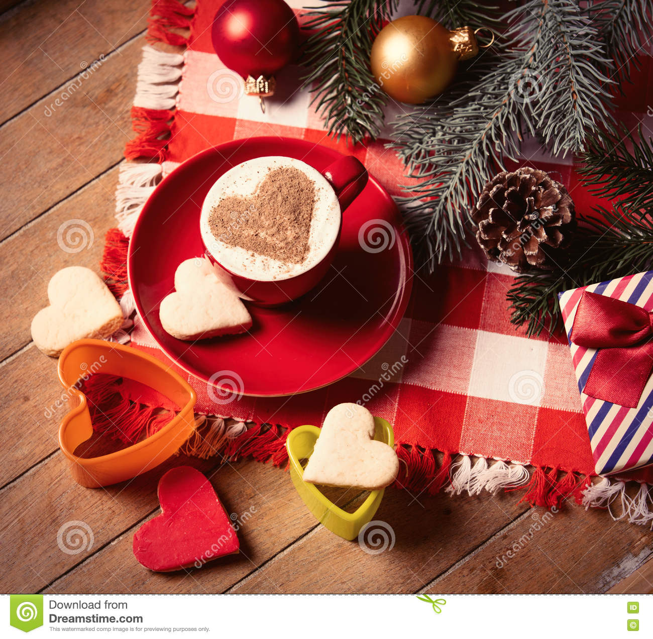 Christmas Decorations For Coffee Shops: Cup Of Coffee, Cookies And Christmas Decorations Stock