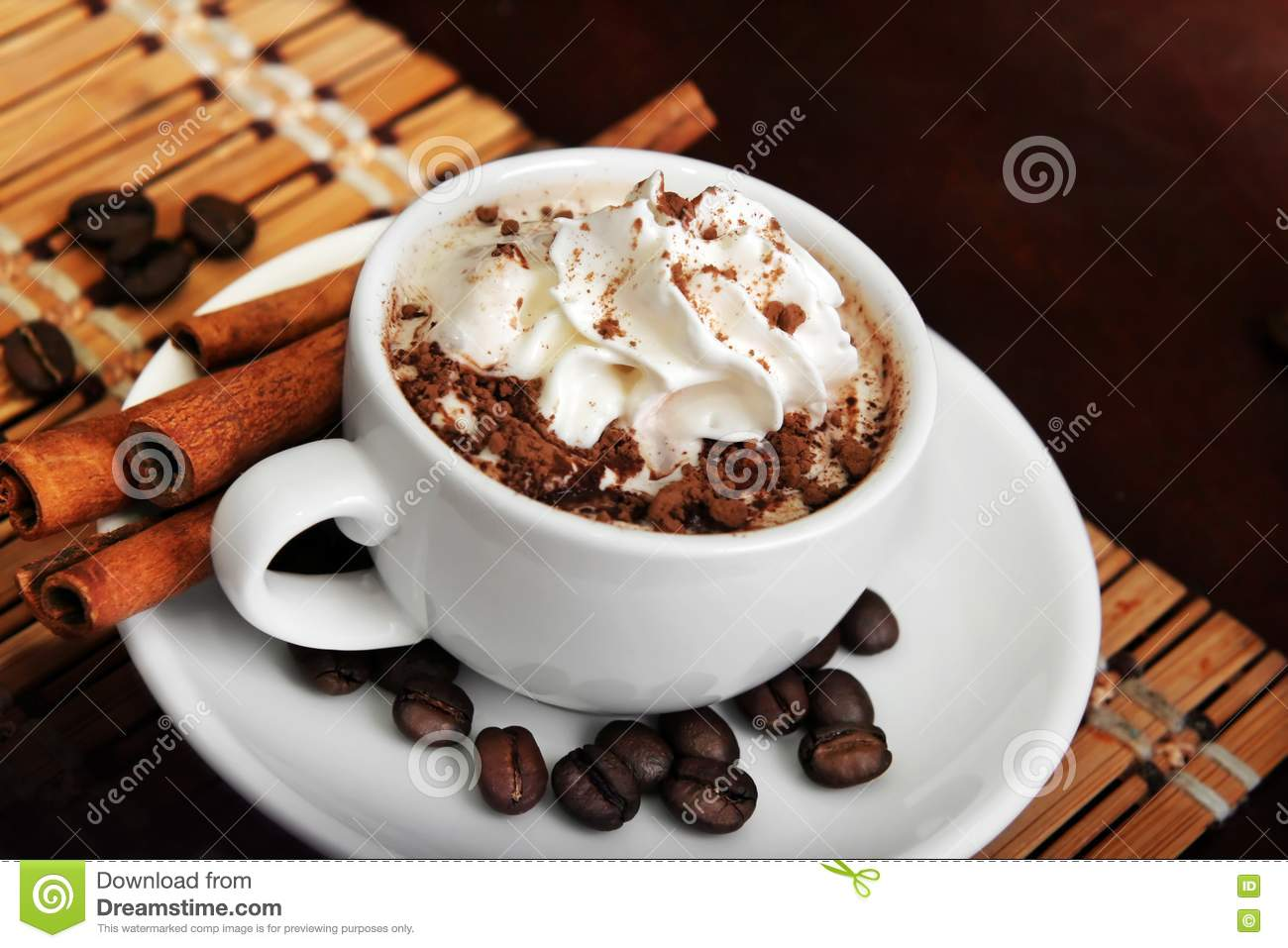 Cup Of Coffee With Cream Stock Photo Image Of Cafe