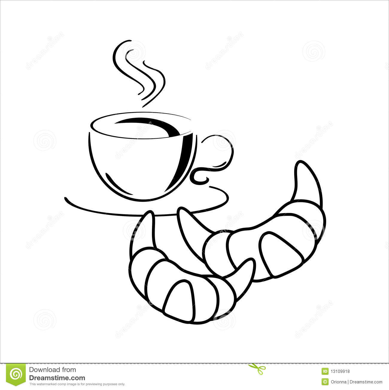 Croissant Coffee Clip Art Cup of coffee with croissants