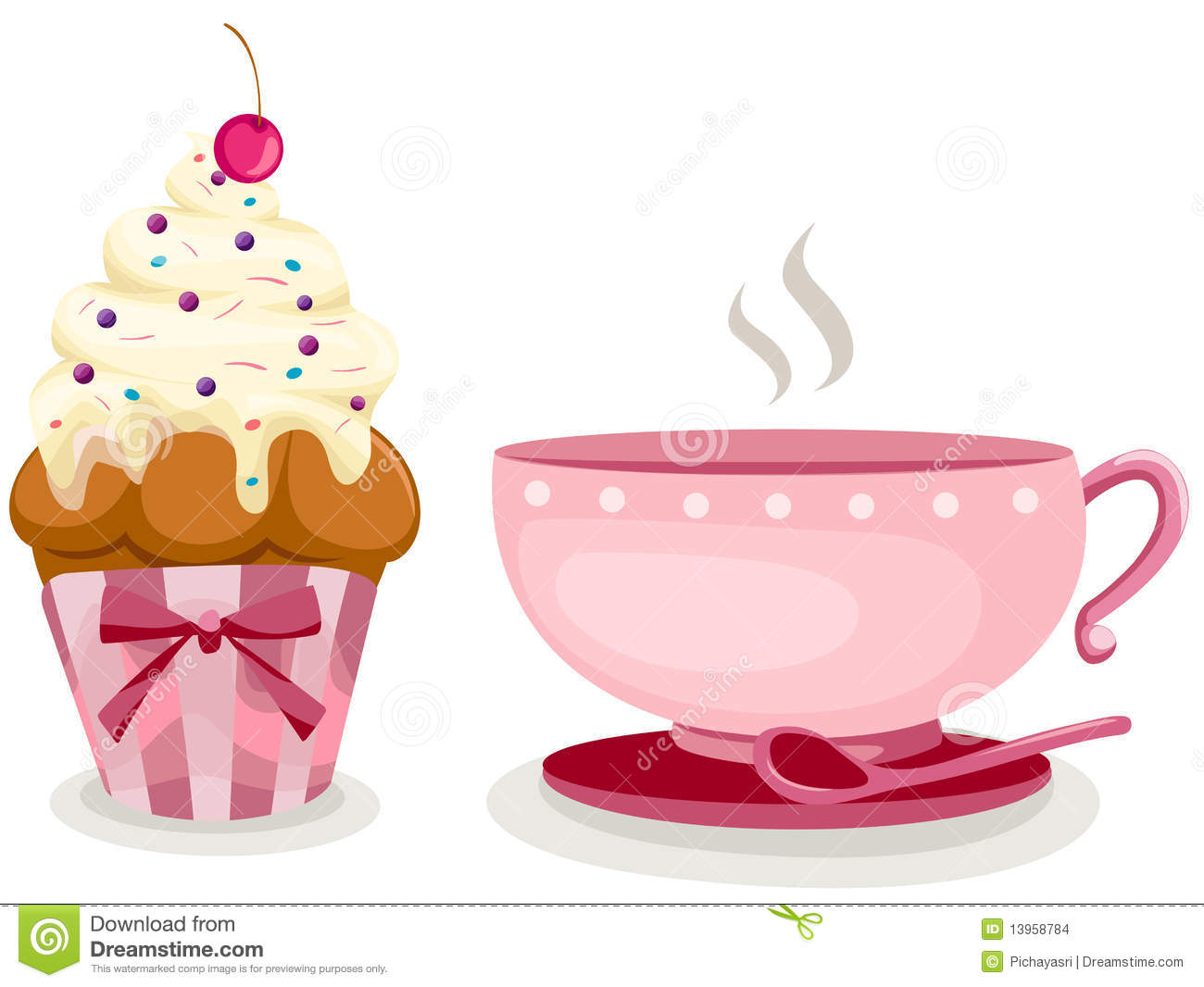 Cup Of Coffee And Cute Cup Cake Stock Vector