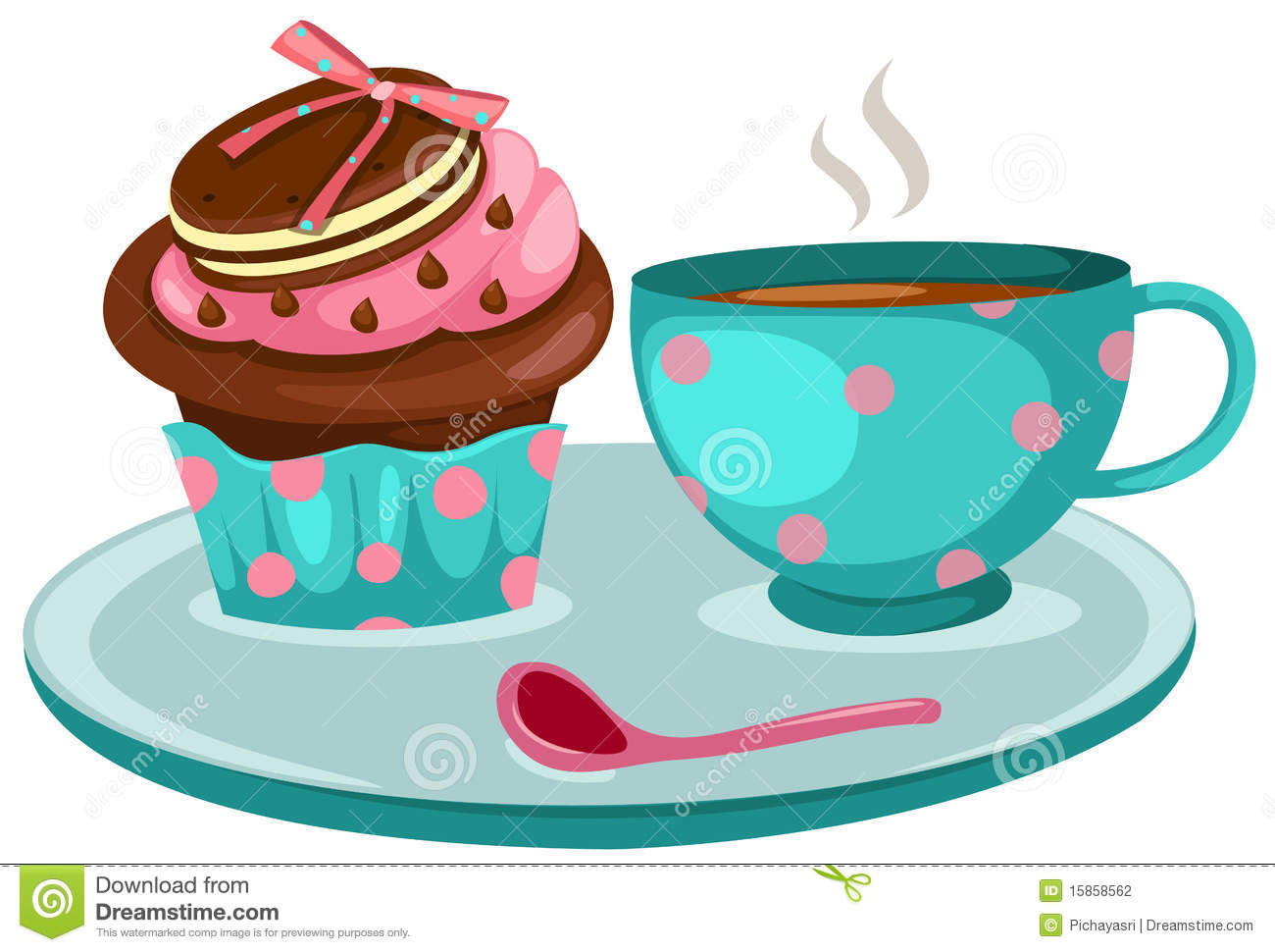 Cup Of Coffee And Cute Cup Cake Stock Photography - Image: 15858562