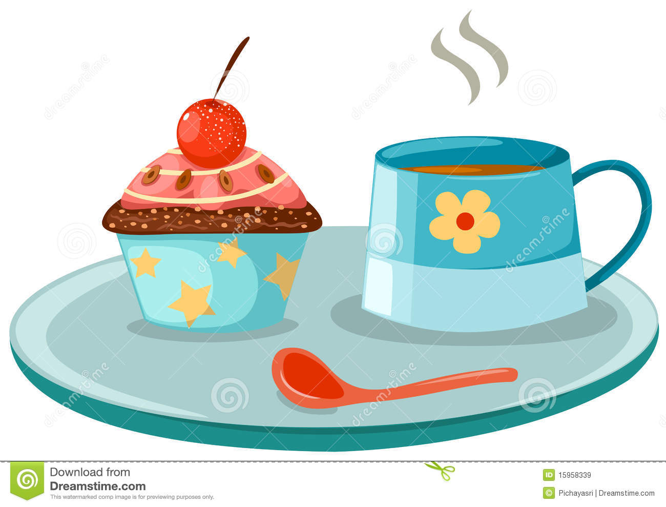 Cup Of Coffee And Cute Cup Cake Royalty Free Stock Images - Image ...