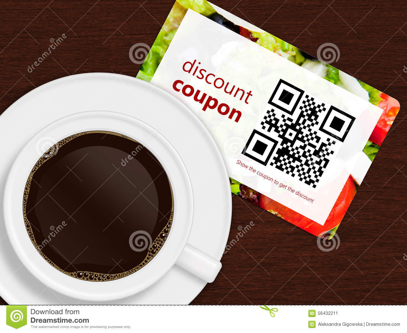Cup Of Coffee With Discount Coupon Stock Illustration