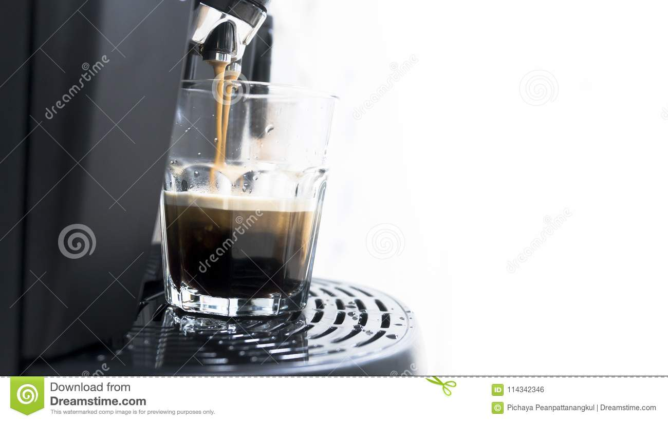 Cup Of Coffee With Drop Of Water From Bean To Coffee Machine