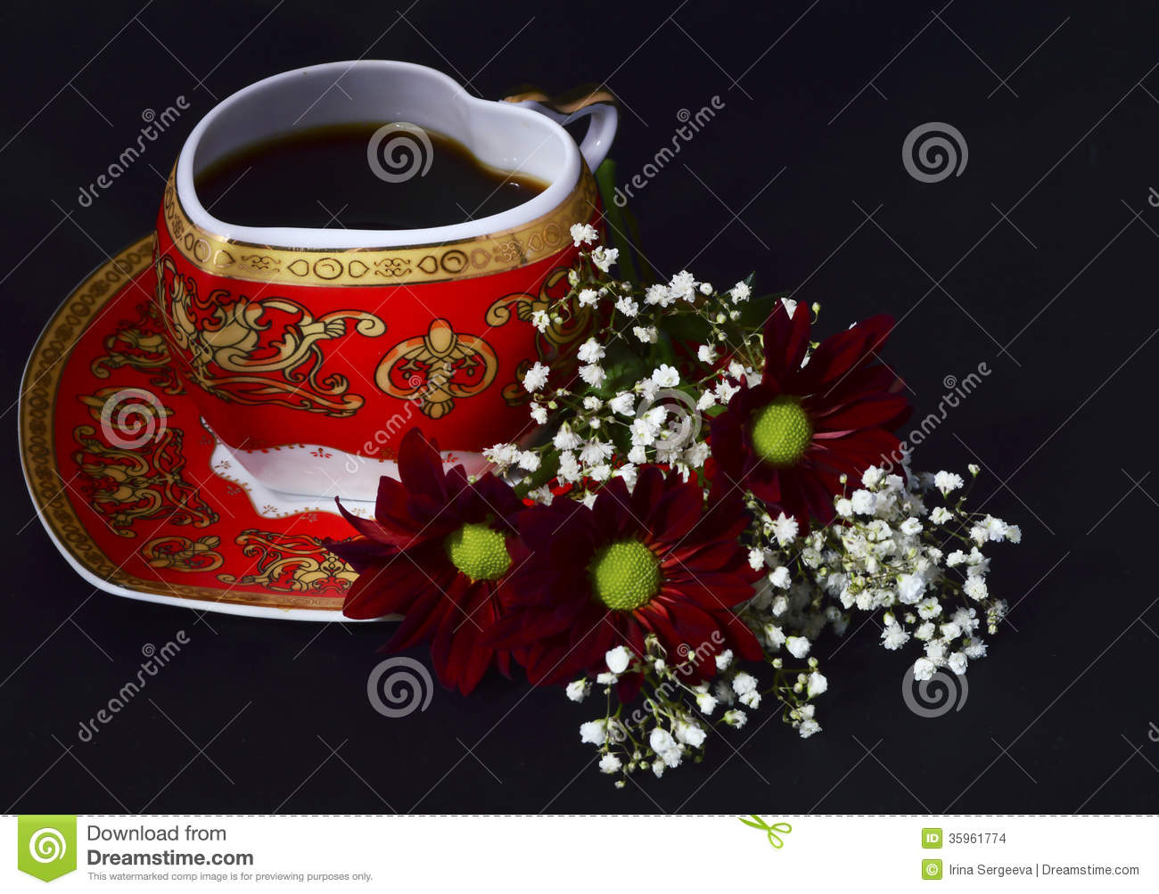 Cup Of Coffee And Flowers Stock Photo Image Of