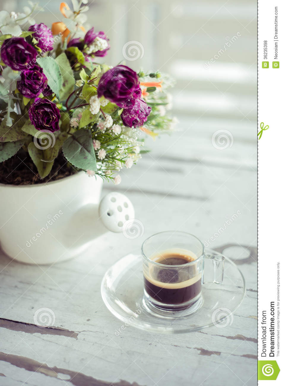 Cup Of Coffee With Flowers Stock Photo Image Brewed