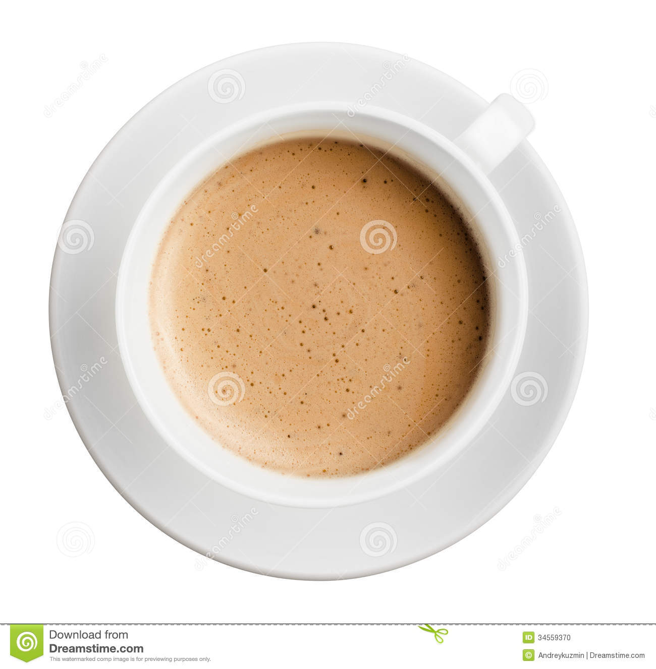 Cup Of Coffee With Foam Isolated, All In Focus, Top View Stock Photo ...