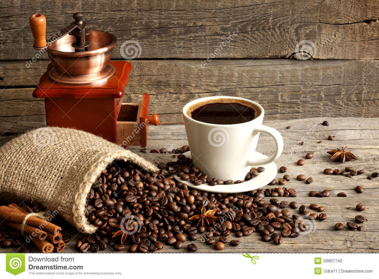 Cup Of Coffee And Grinder Vintage Still Life Stock