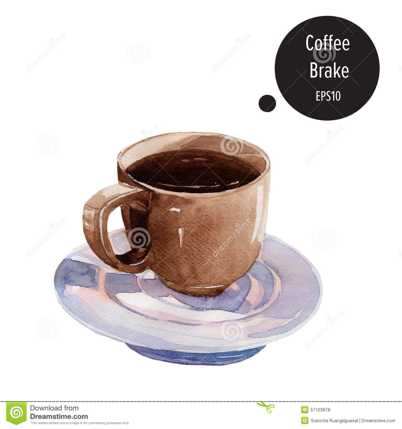 Cup of coffee hand draw watercolor painting on white for Coffee watercolor