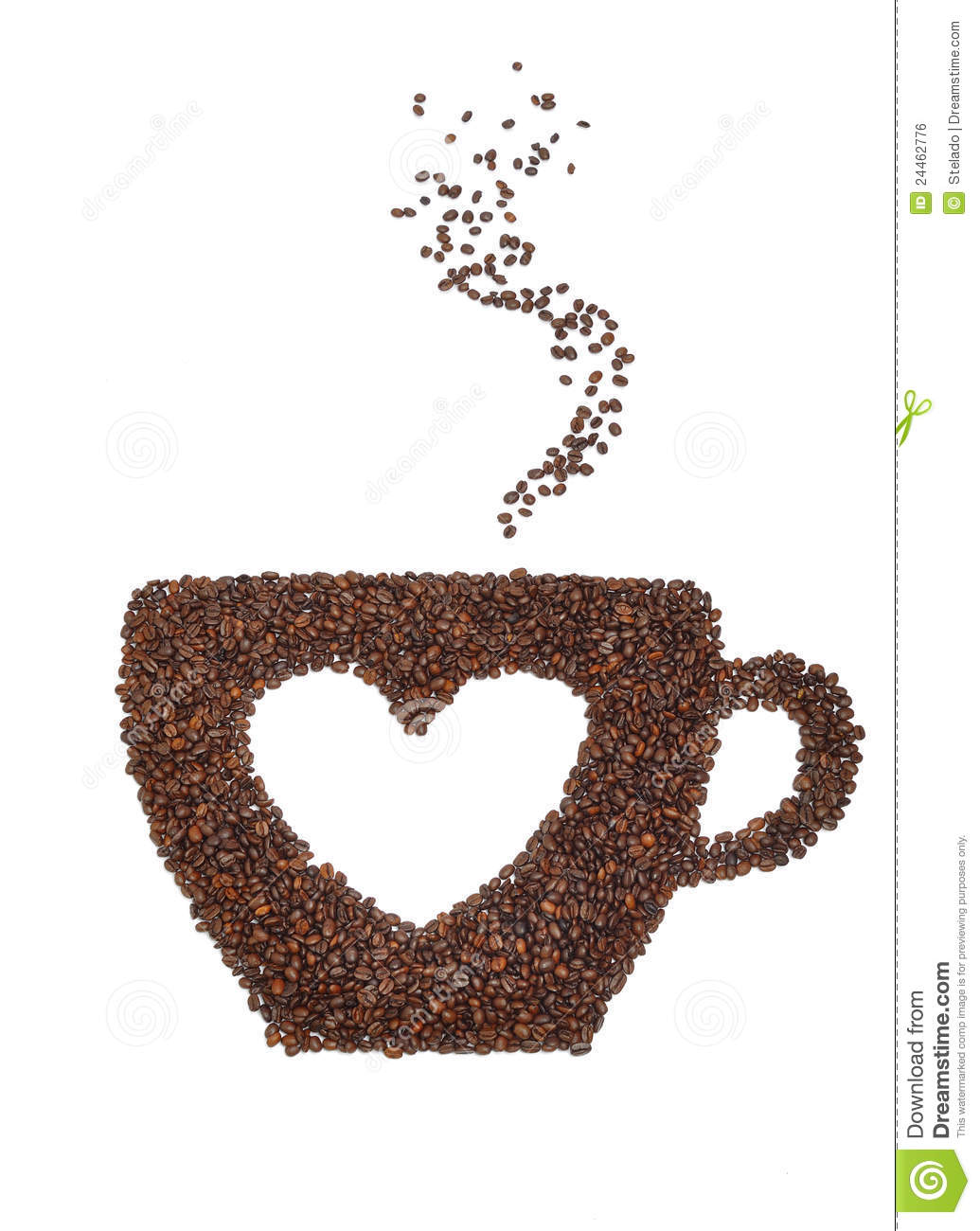 Cup coffee made from coffee beans with a heart symbol isolated on ...