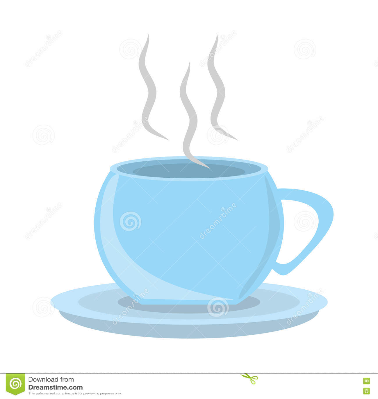 cup coffee hot porcelan plate utensil cartoon vector 81949357. Black Bedroom Furniture Sets. Home Design Ideas