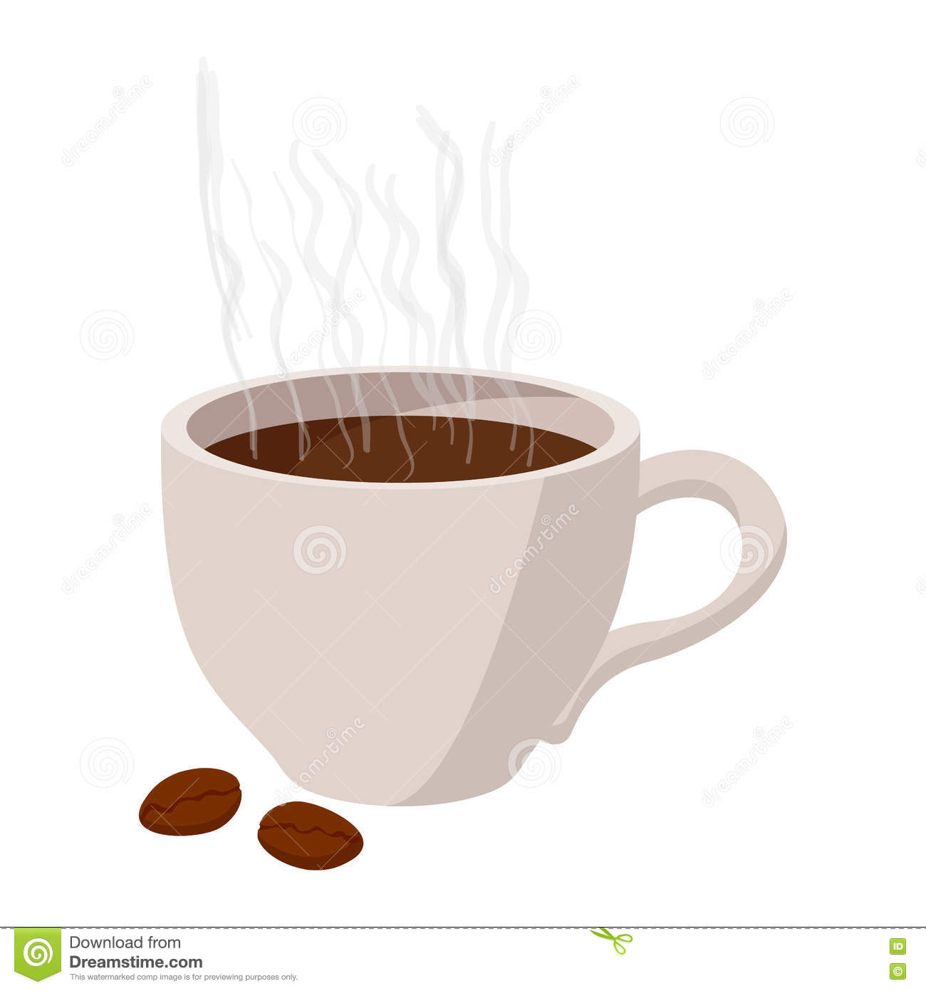 Cup Coffee Icon Cartoon Style White Background