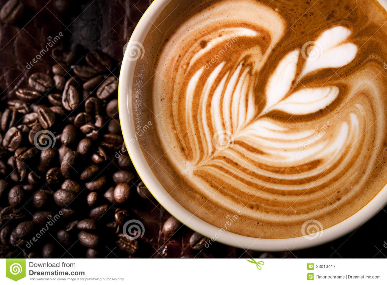 A Cup Of Coffee With Latte Art Stock Image Image Of Machine Making 33010417