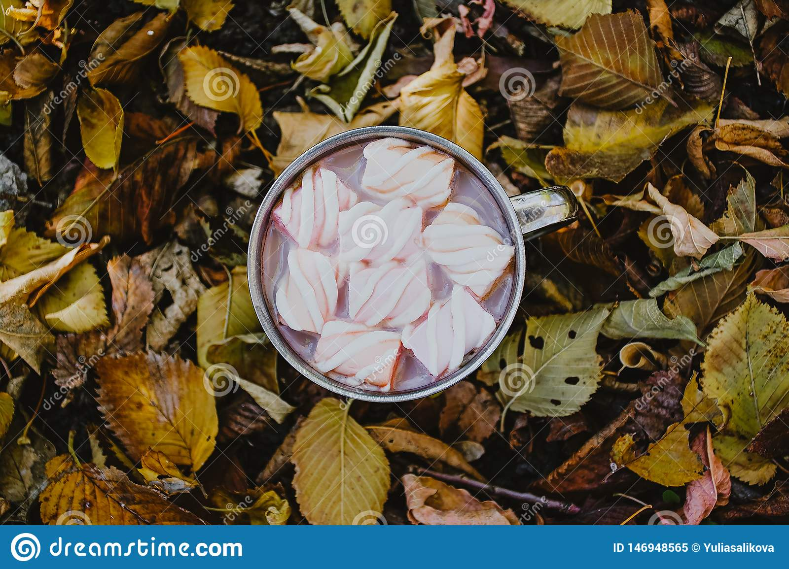 A cup of coffee with marshmallows on a background of yellow leaves