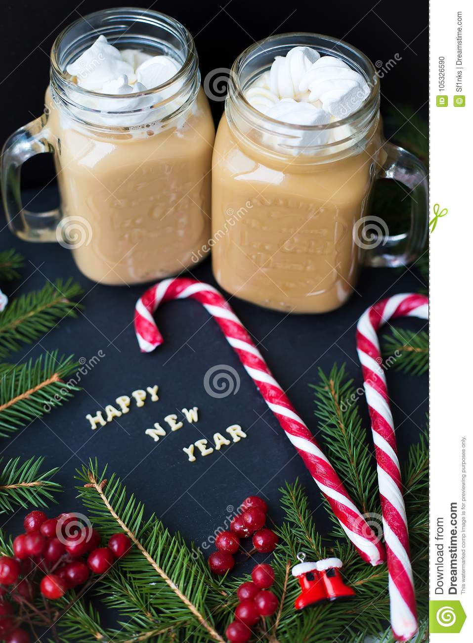 Coffee Christmas Ornaments.A Cup Of Coffee With Marshmallows Christmas Ornaments And