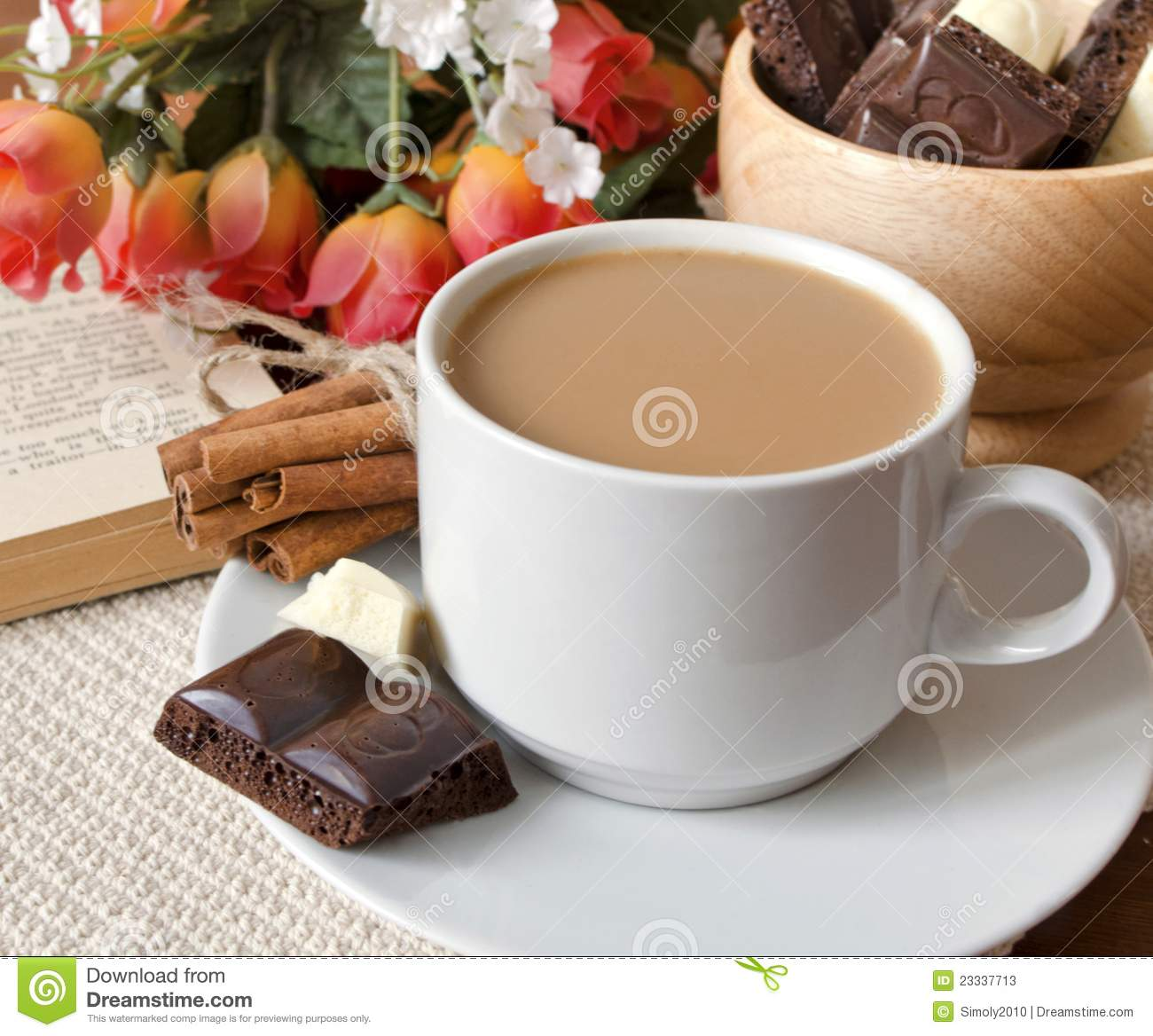 Cup Of Coffee With Milk And Chocolate Stock Photos