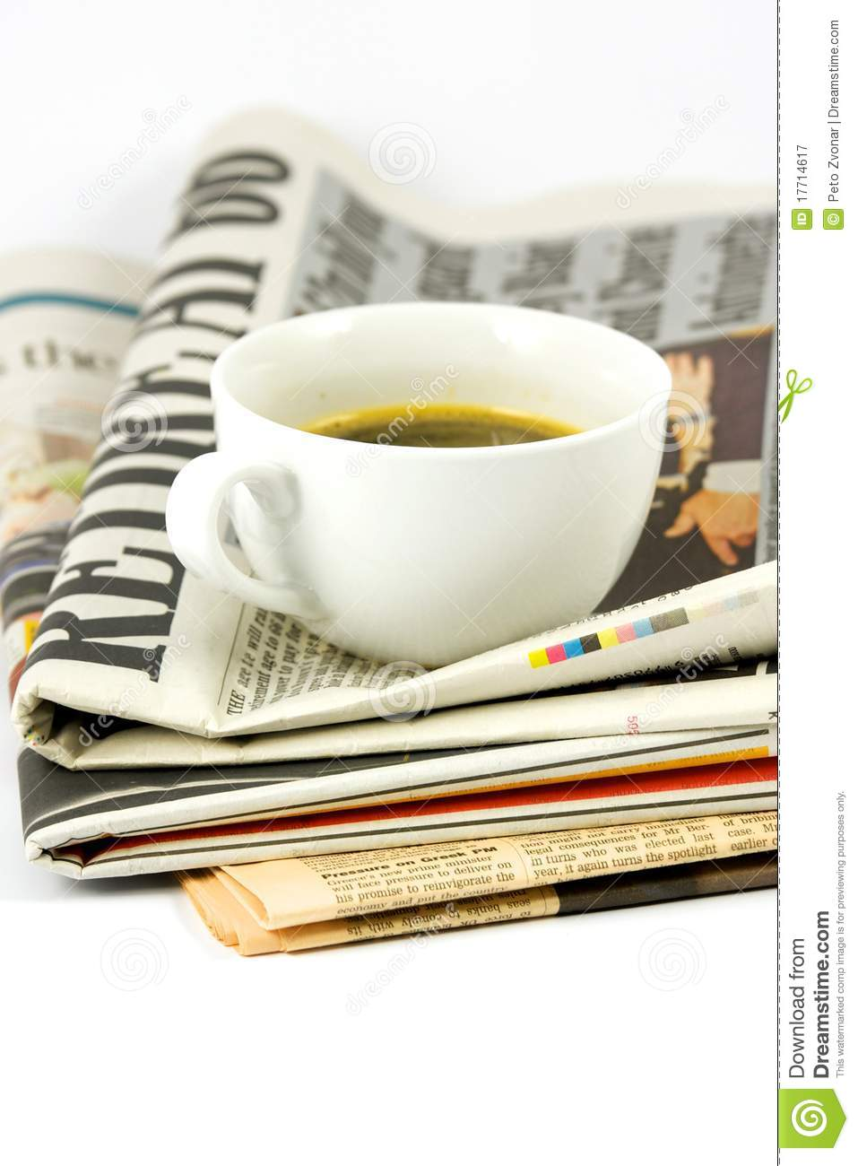 Cup Of Coffee On Newspaper Royalty Free Stock Photography