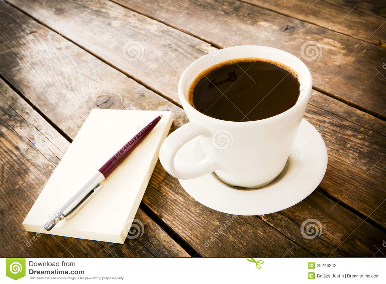 Cup Of Coffee And Notebook Next To It. Stock Photography - Image ...