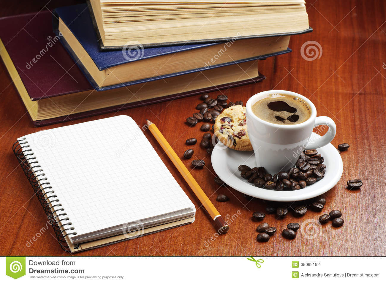 Cup Of Coffee Notepad And Books Stock Photography Image