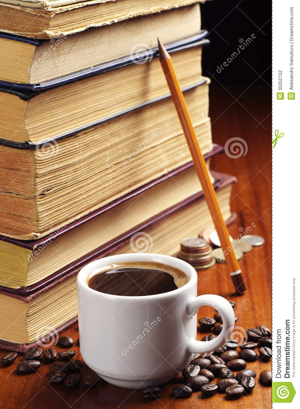 Cup Of Coffee And Old Books Stock Photography Image