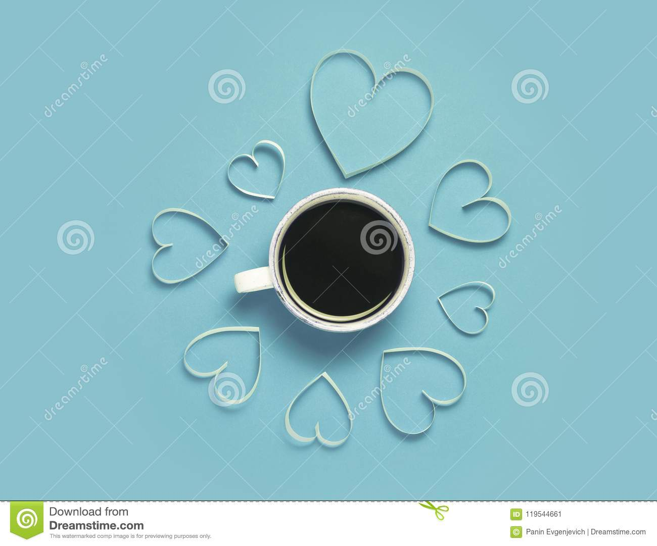 Cup of coffee and paper hearts on red background. St.Valentine`s day greeting concept. Lovely and minimalistic picture. Top view,